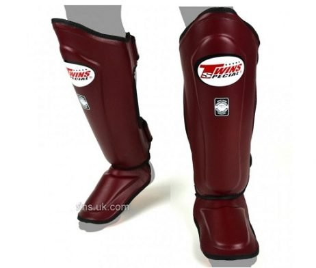 Twins Special BURGUNDY Shin Leather Double Padded Protection SGL10