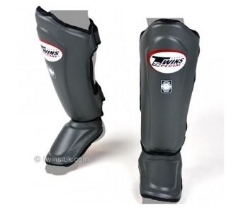 Twins Special GREY Shin GUARDS Leather Double Padded Protection SGL10