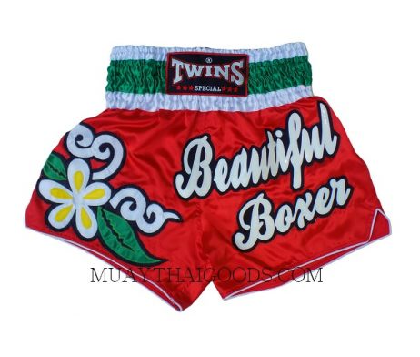 BEAUTIFUL BOXER RED TWINS SPECIAL MUAY THAI BOXING SHORTS