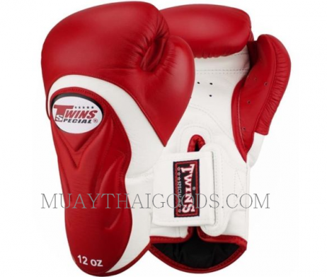 BGVL6 TWINS SPECIAL RED WHITE MUAY THAI KICK BOXING GLOVES