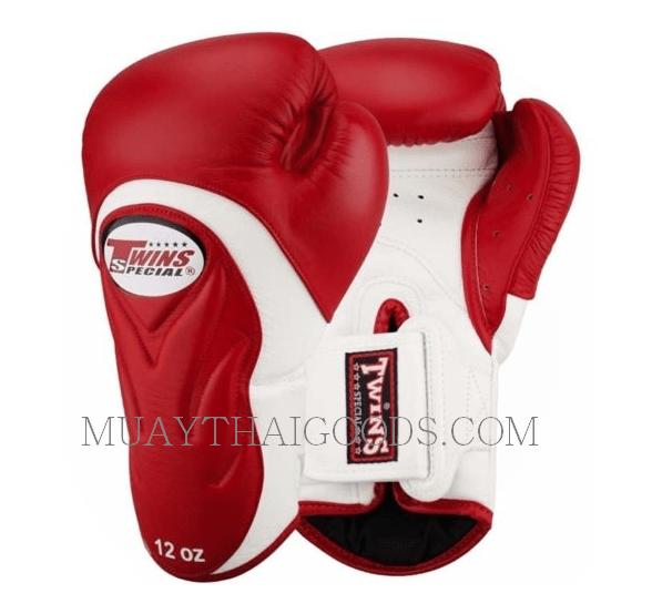Shiv Naresh Teens Boxing Gloves 12oz: BGVL6 TWINS SPECIAL RED WHITE MUAY THAI KICK BOXING GLOVES