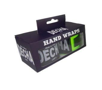 DECHA MUAY THAI GREEN FLUO BOXING HAND WRAPS DHW5 SEMI ELASTIC BOX