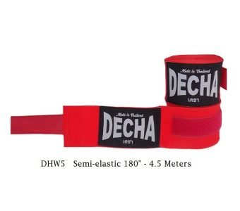 DECHA RED BOXING MUAY THAI HAND WRAPS DHW5 SEMI ELASTIC 180″ 4.5 M