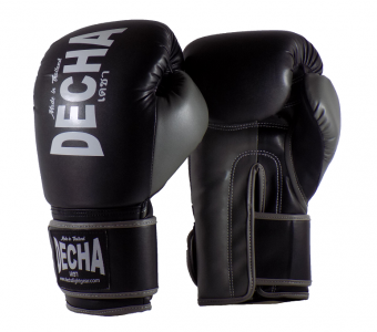 DECHA 4 LAYERS MUAY THAI BOXING GLOVES TIGHT FIT DBGVM1 BLACK GREY