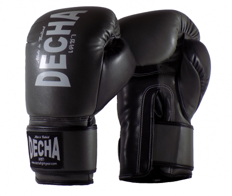 DECHA 4 LAYERS MUAY THAI BOXING GLOVES TIGHT FIT DBGVM1 GREY BLACK