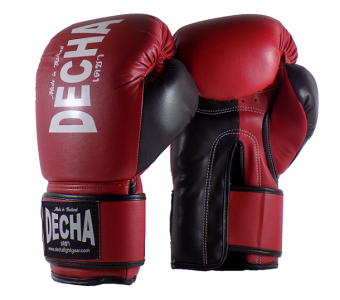 DECHA 4 LAYERS MUAY THAI BOXING GLOVES TIGHT FIT DBGVM1 MAROON BLACK