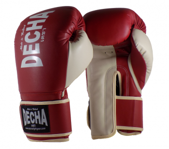 DECHA 4 LAYERS MUAY THAI BOXING GLOVES TIGHT FIT DBGVM1 MAROON CREAM
