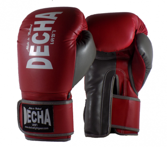 DECHA 4 LAYERS MUAY THAI BOXING GLOVES TIGHT FIT DBGVM1 MAROON GREY
