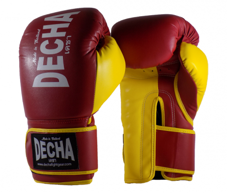 DECHA 4 LAYERS MUAY THAI BOXING GLOVES TIGHT FIT DBGVM1 MAROON YELLOW