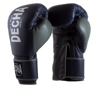 DECHA 4 LAYERS MUAY THAI BOXING GLOVES TIGHT FIT DBGVM1 NAVY BLUE GREY