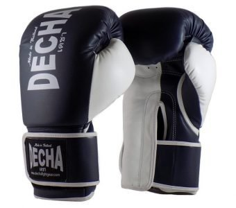 DECHA 4 LAYERS MUAY THAI BOXING GLOVES TIGHT FIT DBGVM1 NAVY BLUE WHITE