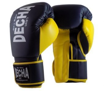 DECHA 4 LAYERS MUAY THAI BOXING GLOVES TIGHT FIT DBGVM1 NAVY BLUE YELLOW