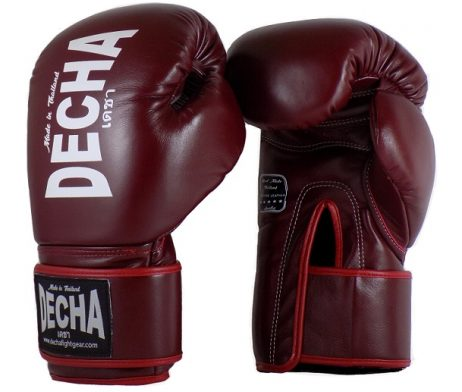 DECHA MUAY THAI BOXING GLOVES LEATHER BURGUNDY