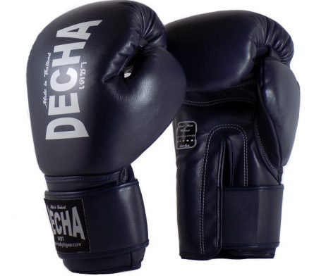 DECHA LEATHER 4 LAYERS MUAY THAI BOXING GLOVES TIGHT FIT DBGVL1 NAVY BLUE