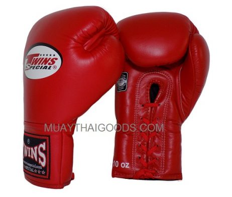 BGLL1 TWINS SPECIAL MUAY THAI KICK BOXING K1 GLOVES RED LACE UP / LACES