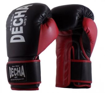 DECHA 4 LAYERS MUAY THAI BOXING GLOVES TIGHT FIT DBGVM1 BLACK RED