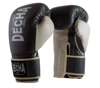 DECHA 4 LAYERS MUAY THAI BOXING GLOVES TIGHT FIT DBGVM1 GREY CREAM
