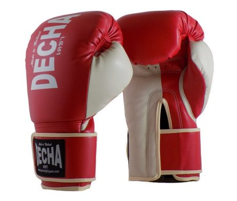 DECHA 4 LAYERS MUAY THAI BOXING GLOVES TIGHT FIT DBGVM1 GREY RED CREAM