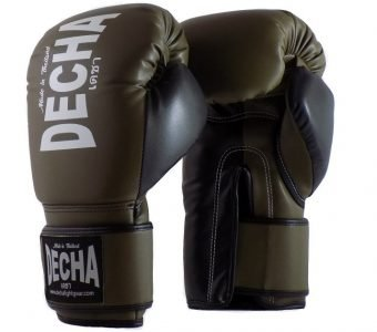 DECHA 4 LAYERS MUAY THAI BOXING GLOVES TIGHT FIT DBGVM1 OLIVE BLACK
