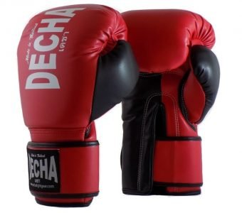 DECHA 4 LAYERS MUAY THAI BOXING GLOVES TIGHT FIT DBGVM1 RED BLACK