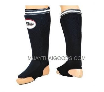 SGN1 BLACK ELASTIC SOCKS SHIN GUARDS PADDED FOAM TWINS SPECIAL BRAND