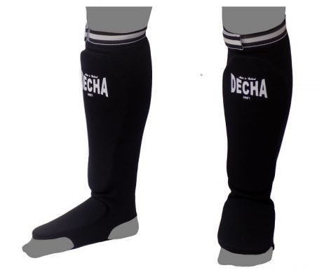 DECHA BLACK ELASTIC SOCKS SHIN GUARDS PADDED FOAM DSGE1