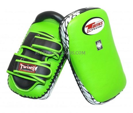 KPL12 LEATHER KICKING PADS FOREARM TRAINING CURVED TWINS SPECIAL GREEN BLACK