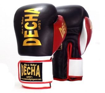 DECHA LEATHER 4 LAYERS MUAY THAI BOXING GLOVES BLACK BLACK RED TIGHT FIT DBGVL1