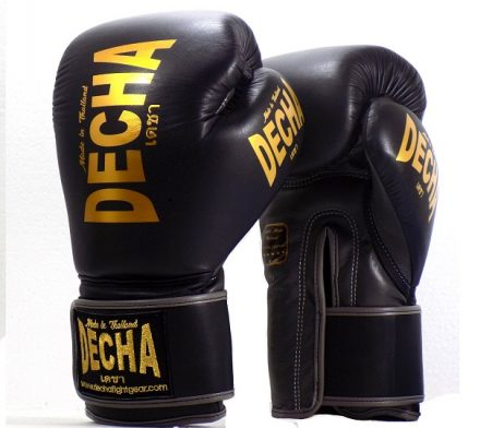 DECHA LEATHER 4 LAYERS MUAY THAI BOXING GLOVES BLACK GREY TIGHT FIT DBGVL1 PRO PERFORMANCE