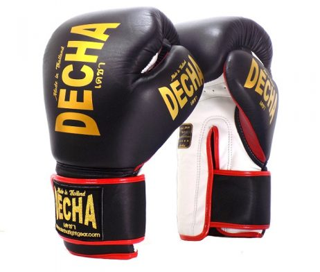 DECHA LEATHER 4 LAYERS MUAY THAI BOXING GLOVES BLACK WHITE RED TIGHT FIT DBGVL1 PRO PERFORMANCE