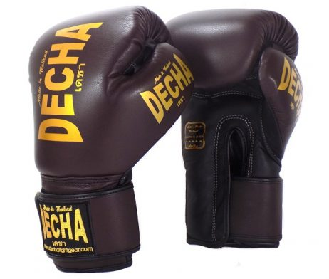DECHA LEATHER 4 LAYERS MUAY THAI BOXING GLOVES BROWN BLACK TIGHT FIT DBGVL1 PRO PERFORMANCE