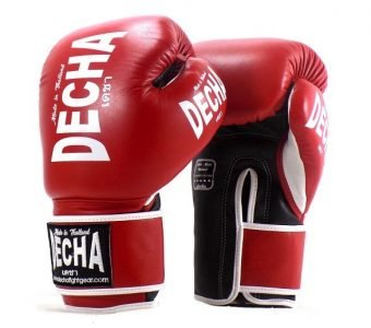DECHA LEATHER 4 LAYERS MUAY THAI BOXING GLOVES RED BLACK WHITE TIGHT FIT DBGVL1 PERFORMANCE