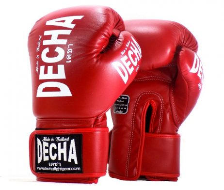DECHA LEATHER 4 LAYERS MUAY THAI BOXING GLOVES RED TIGHT FIT DBGVL1 PRO PERFORMANCE