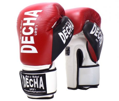 DECHA LEATHER 4 LAYERS MUAY THAI BOXING GLOVES RED WHITE BLACK TIGHT FIT DBGVL1 PRO PERFORMANCE