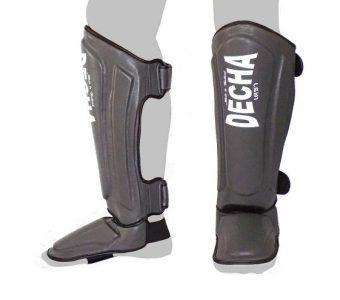 DECHA MUAY THAI SHIN GUARDS DSG1 DOUBLE PADDED SIDE REINFORCEMENT FULL PROTECTION GREY