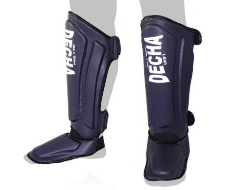 DECHA TWINS FAIRTEX TOP KING MUAY THAI SHIN GUARDS DSG1 DOUBLE PADDED SIDE REINFORCEMENT FULL PROTECTION NAVY BLUE
