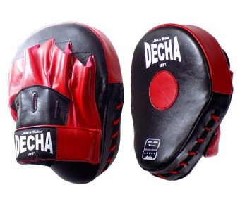DECHA GENUINE LEATHER MUAY THAI BOXING STYLE FOCUS MITTS BLACK RED