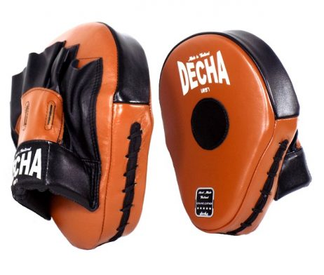 DECHA GENUINE LEATHER MUAY THAI BOXING STYLE FOCUS MITTS BROWN BLACK
