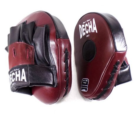 DECHA GENUINE LEATHER MUAY THAI BOXING STYLE FOCUS MITTS BURGUNDY BLACK