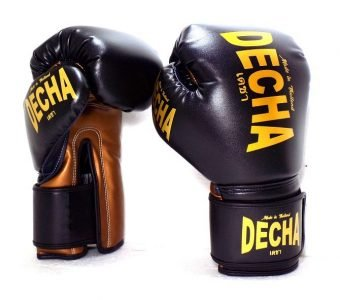 DECHA MUAY THAI BOXING GLOVE MICROFIBER TIGHT FIT DBGVM2 BLACK BRONZE