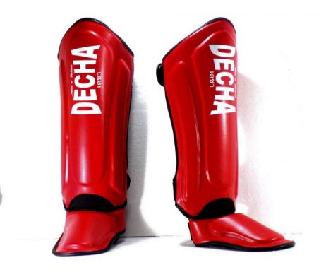 DECHA RED MUAY THAI SHIN GUARDS DSG1 DOUBLE PADDED SIDE REINFORCEMENT FULL PROTECTION