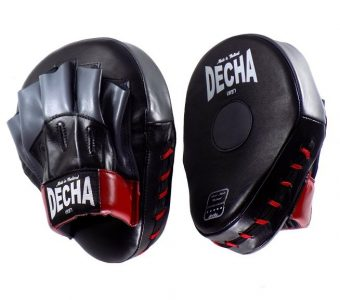 DECHA GENUINE LEATHER MUAY THAI BOXING STYLE FOCUS MITTS BLACK GREY