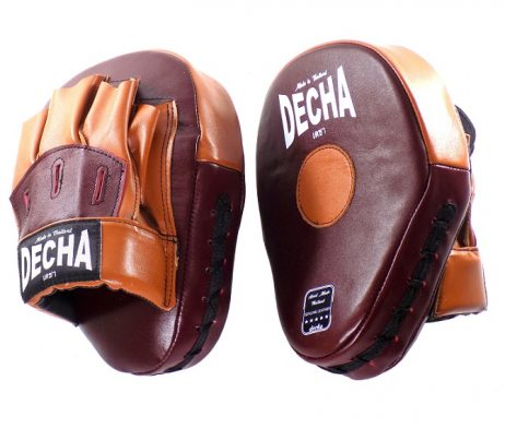 DECHA GENUINE LEATHER MUAY THAI BOXING STYLE FOCUS MITTS BURGUNDY BROWN