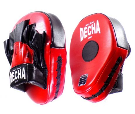 DECHA GENUINE LEATHER MUAY THAI BOXING STYLE FOCUS MITTS RED BLACK