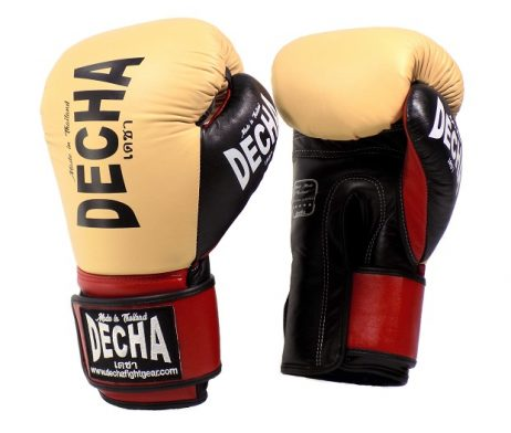 DECHA LEATHER 4 LAYERS MUAY THAI BOXING GLOVES CREAM BLACK RED TIGHT FIT DBGVL1 PRO PERFORMANCE