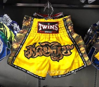 TWINS SPECIAL MUAY THAI ARMY STYLE BOXING SHORTS YELLOW