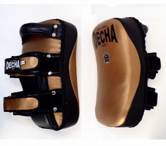 DECHA PROFESSIONAL GENUINE LEATHER CURVED KICKING PADS SHIN CONDITIONING FOREARM DKPLF1 goldblack