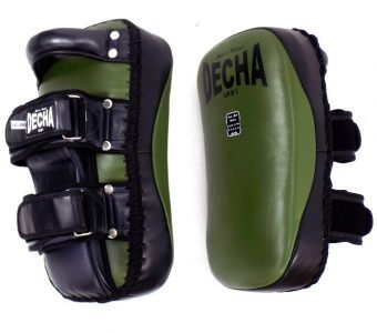 DECHA PROFESSIONAL GENUINE LEATHER CURVED KICKING PADS SHIN CONDITIONING FOREARM DKPLF1 green Army