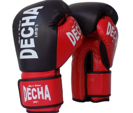 DECHA MUAY THAI STYLE BOXING GLOVES MICROFIBER TIGHT FIT DBGVM2 BLACK RED