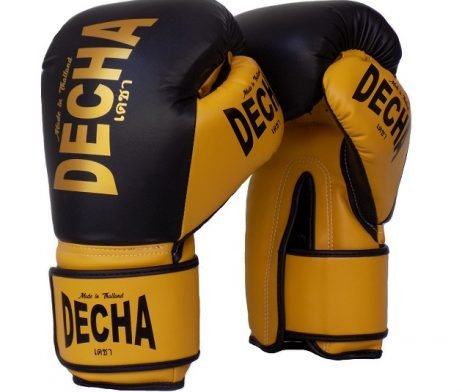 DECHA MUAY THAI STYLE BOXING GLOVES MICROFIBER TIGHT FIT DBGVM2 BLACK YELLOW